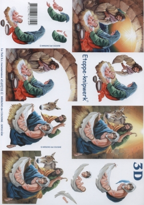 3D Bogen Weihnachtskrippe - Format A4,  Tiere,  Menschen - Personen,  Weihnachten,  3D Bogen,  Esel