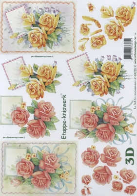 3D Bogen Rosen - Format A4,  Le Suh,  Blumen - Rosen,  Sommer,  3D Bogen,  Rosen