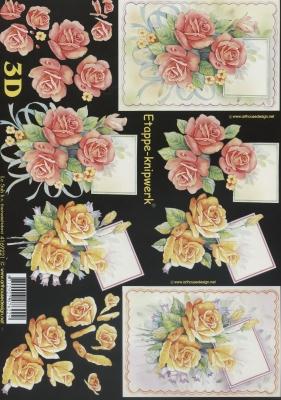 3D Bogen Format A4,  Blumen - Rosen,  Le Suh,  Sommer,  3D Bogen,  Rosen