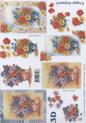 3D Bogen Format A4,  Blumen - Rosen,  Le Suh,  Sommer,  3D Bogen,  Rosen,  Blumenstrauß