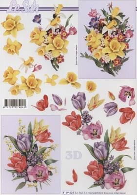 3D Bogen Format A4 Frühlingsstrauß, Blumen - Tulpen,  Blumen - Osterglocken,  Le Suh,  Frühjahr,  3D Bogen,  Narzissen,  Tulpen