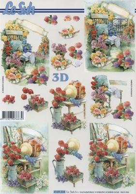 3D Bogen im Garten - Format A4,  Blumen -  Sonstige,  Le Suh,  Sommer,  3D Bogen,  Garten,  Blumen