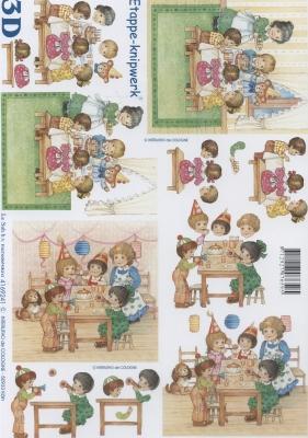 3D Bogen Kinderfest - Format A4,  Menschen - Kinder,  Le Suh,  Ereignisse - Geburtstag,  3D Bogen,  Kinder
