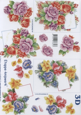 3D Bogen Blumen mit Karte Format A4,  Le Suh,  Blumen - Rosen,  Sommer,  3D Bogen,  Rosen
