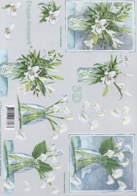 3D Bogen Format A4,  Le Suh,  Blumen -  Sonstige,  3D Bogen,  Lilien