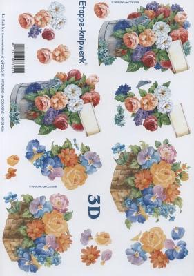 3D Bogen Blumen - Eimer + Korb - Format A4,  Le Suh,  Blumen - Rosen,  Sommer,  3D Bogen,  Rosen