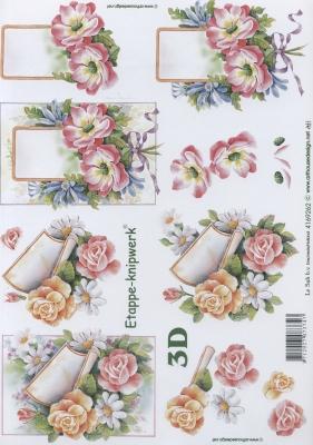 3D Bogen Blumen mit Karte - Format A4,  Le Suh,  Blumen - Rosen,  3D Bogen