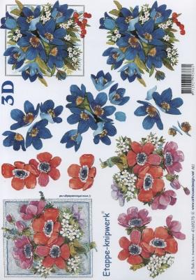 3D Bogen rote + blaue Blumen - Format A4,  Le Suh,  Blumen - Mohn,  3D Bogen,  Mohn