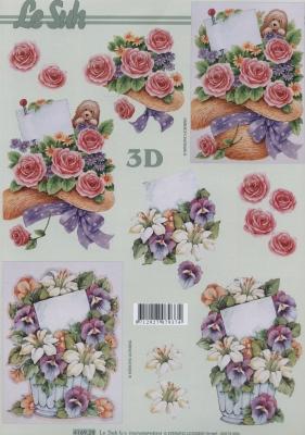 3D Bogen Format A4 Hut mit Rosen,  Le Suh,  Blumen - Rosen,  Sommer,  3D Bogen,  Rosen
