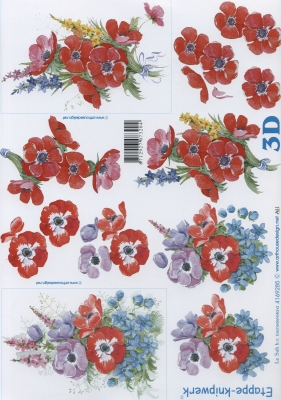 3D Bogen  - Format A4,  Blumen - Mohn,  Le Suh,  Sommer,  3D Bogen,  Mohnblumen