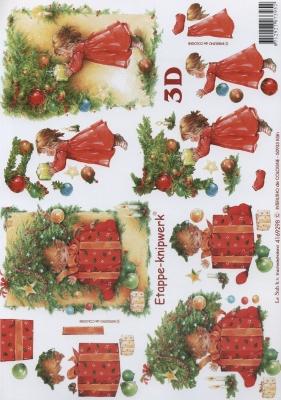 3D Bogen Format A4, Weihnachten - Geschenke,  Menschen - Kinder,  Le Suh,  Weihnachten,  3D Bogen,  Mädchen,  Geschenke,  Weihnachtsbaum