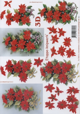 3D Bogen Weihnachtsrose - Format A4,  Blumen - Weihnachtsstern,  Le Suh,  Weihnachten,  3D Bogen,  Weihnachtsstern