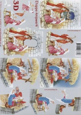 3D Bogen Weihnachtskrippe - Format A4,  Menschen - Personen,  Le Suh,  Weihnachten,  3D Bogen,  Maria und Josef,  Krippe
