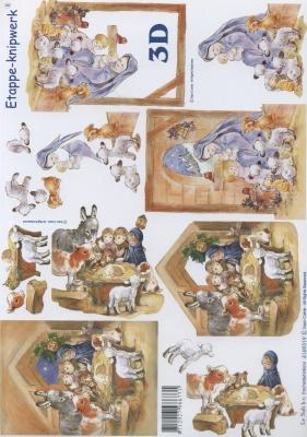 3D Bogen Format A4,  Menschen - Kinder,  Le Suh,  Weihnachten,  3D Bogen,  Maria und Josef,  Kinder,  Krippe