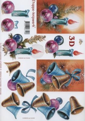 3D Bogen Kerzen+Glocken Format A4, Weihnachten - Glocken,  Weihnachten - Baumschmuck,  Le Suh,  Weihnachten,  3D Bogen,  Glocken