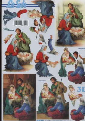 3D Bogen Weihnachtskrippe - Format A4,  Weihnachten,  Le Suh,  Weihnachten,  3D Bogen,  Maria und Josef,  Krippe,  Jesus