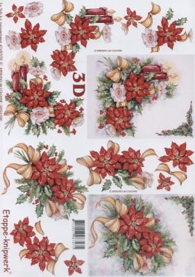 3D Bogen Weihnachtsgesteck - Format A4, Weihnachten - Adventskranz,  Blumen - Weihnachtsstern,  Le Suh,  Weihnachten,  3D Bogen,  Weihnachtsstern,  Kranz