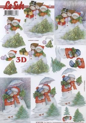 3D Bogen Schneemannkinder - Format A4,  Winter - Schneemänner,  Le Suh,  Winter,  3D Bogen,  Schneemänner