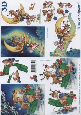 3D Bogen Hirsch beim Schlitten - Format A4,  Tiere - Reh / Hirsch,  Le Suh,  Weihnachten,  3D Bogen,  Reh,  Schlitten
