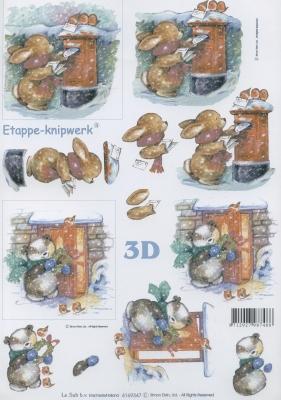 3D Bogen Weihnachtsbriefkasten - Format A4,  Tiere - Hasen,  Le Suh,  Winter,  3D Bogen,  Briefkasten,  Hase