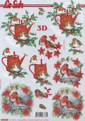 3D Bogen Rotkehlchen+Gießkanne Format A4,  Pflanzen - Ilex,  Tiere - Vögel,  Le Suh,  Weihnachten,  3D Bogen,  Rotkehlchen,  Gießkanne