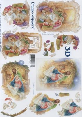 3D Bogen Maria und Josef Format A4,  Le Suh,  Weihnachten,  3D Bogen,  Krippe,  Maria und Josef,  Jesus
