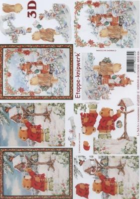 3D Bogen Bär + Vogelhaus - Format A4, Winter - Schnee,  Tiere - Bären,  Le Suh,  Winter,  3D Bogen,  Teddybär,  Schnee