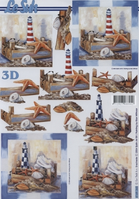 3D Bogen Seestern+Leuchtturm Format A4,  Regionen - Strand / Meer - Leuchttürme,  Le Suh,  Sommer,  3D Bogen,  Seesterne,  Muscheln