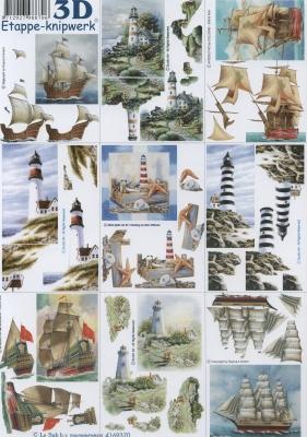 3D Bogen Leuchtturm+Schiffe klein Format A4, Regionen - Strand / Meer - Schiffe,  Regionen - Strand / Meer - Leuchttürme,  Le Suh,  Sommer,  3D Bogen,  Leuchtturm,  Segelschiff
