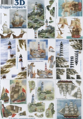 3D Bogen Klein ans Mer. - Format A4, Regionen - Strand / Meer - Schiffe,  Regionen - Strand / Meer - Leuchttürme,  Le Suh,  Sommer,  3D Bogen,  Leuchtturm,  Segelschiff