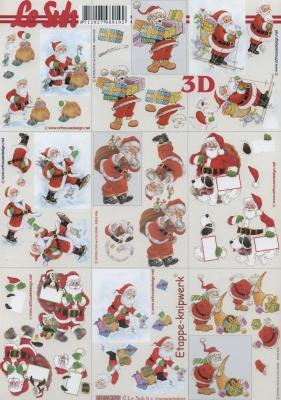 3D Bogen Klein Weihnachtsmänner - Format A4,  Weihnachten - Weihnachtsmann,  Le Suh,  Weihnachten,  3D Bogen,  Weihnachtsmann
