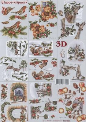 3D Bogen Format A4, Tiere - Hasen,  Tiere - Reh / Hirsch,  Le Suh,  Herbst,  3D Bogen,  Hasen,  Reh,  Hirsch