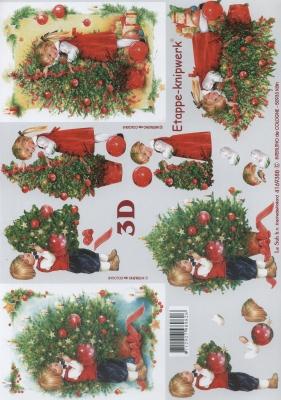 3D Bogen Kinderer beim Weihnachtsbaum - Format A4,  Le Suh,  Weihnachten,  3D Bogen,  Kinder,  Weihnachtsbaum