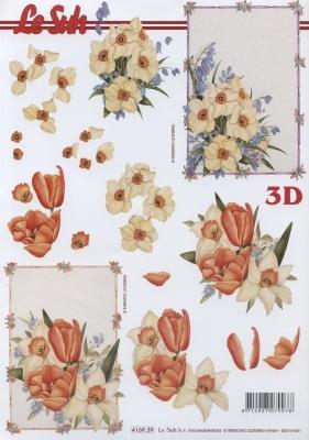 3D Bogen Tulpe+Narzissen - Format A4,  Blumen - Tulpen,  Le Suh,  Frühjahr,  3D Bogen,  Narzissen,  Tulpen