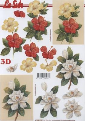 3D Bogen Hibiskusblüten Format A4,  Blumen -  Sonstige,  Le Suh,  Sommer,  3D Bogen,  Blumen