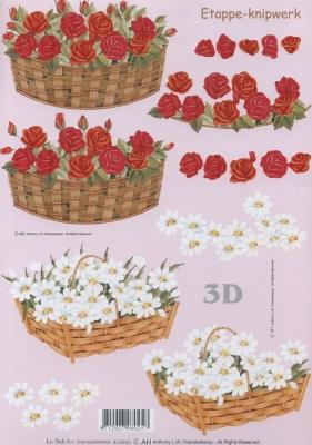 3D Bogen Weißer Korb + rote Blumen - Format A4,  Blumen - Rosen,  Le Suh,  Sommer,  3D Bogen,  Rosen