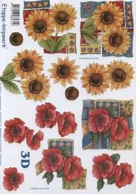 3D Bogen Klatschmoon + Sonnenblumen - Format A4, Blumen - Mohn,  Blumen - Sonnenblumen,  Le Suh,  Sommer,  3D Bogen,  Sonnenblume,  Mohnblumen