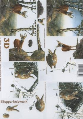 3D Bogen Reh und Hase - Format A4, Tiere - Hasen,  Tiere - Reh / Hirsch,  Le Suh,  Winter,  3D Bogen,  Reh,  Hasen