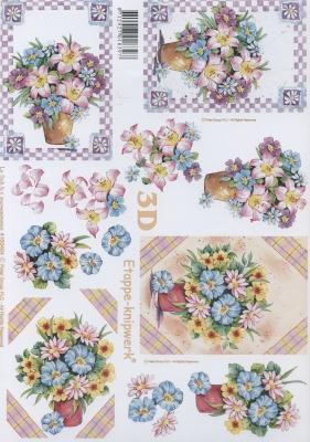 3D Bogen Blumen im Topf - Format A4,  Blumen -  Sonstige,  Le Suh,  Sommer,  3D Bogen,  Blumenstrauß