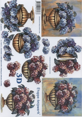 3D Bogen Hortensie auf Schale - Format A4,  Blumen -  Sonstige,  Le Suh,  Sommer,  3D Bogen,  Hortensien