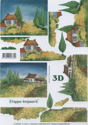 3D Bogen Format A4 - Landhaus,  Sonstiges -  Sonstiges,  Le Suh,  Sommer,  3D Bogen,  Landschaft
