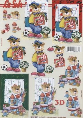 3D Bogen Einschulung Format A4,  Ereignisse - Schule,  Le Suh,  Sommer,  3D Bogen,  Einschulung,  Schule,  Teddybär