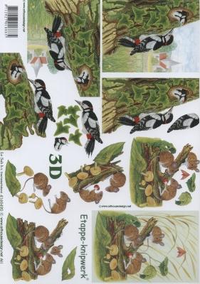 3D Bogen Format A4,  Tiere - Vögel,  Le Suh,  Herbst,  3D Bogen,  Vögel,  Maus