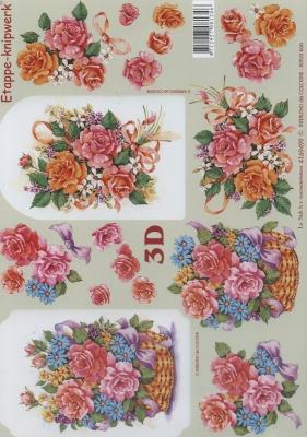 3D Bogen Format A4,  Blumen - Rosen,  Le Suh,  Sommer,  3D Bogen,  Rosen,  Korb