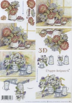 3D Bogen Hortensie - Format A4,  Blumen -  Sonstige,  Le Suh,  Sommer,  3D Bogen,  Blumen,  Teetasse,  Teekanne