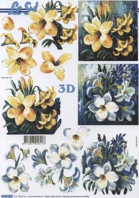 3D Bogen Format A4,  Blumen -  Sonstige,  Le Suh,  Sommer,  3D Bogen,  Lilien