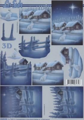 3D Bogen Häuschen im Schnee - Format A4,  Winter - Schnee,  Le Suh,  Winter,  3D Bogen,  Häuser,  Hasen,  Schnee