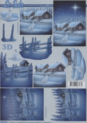 3D Bogen Format A4,  Winter - Schnee,  Le Suh,  Winter,  3D Bogen,  Häuser,  Hasen,  Schnee