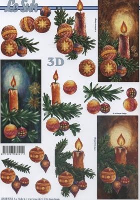 3D Bogen Weihnachtskerzen - Format A4,  Weihnachten - Glocken,  Le Suh,  Weihnachten,  3D Bogen,  Kerzen,  Glocken