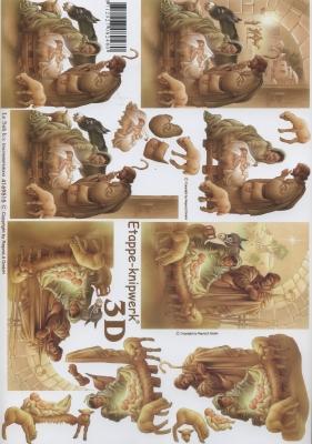 3D Bogen Weihnachtskrippe - Format A4, Tiere - Schafe,  Menschen - Personen,  Le Suh,  Weihnachten,  3D Bogen,  Krippe,  Personen,  Esel,  Schafe